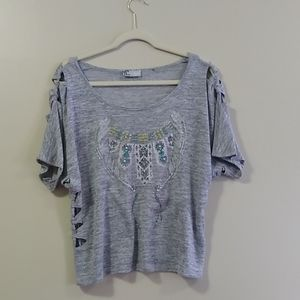Miss Me | Grey Knotted Aztec Tee